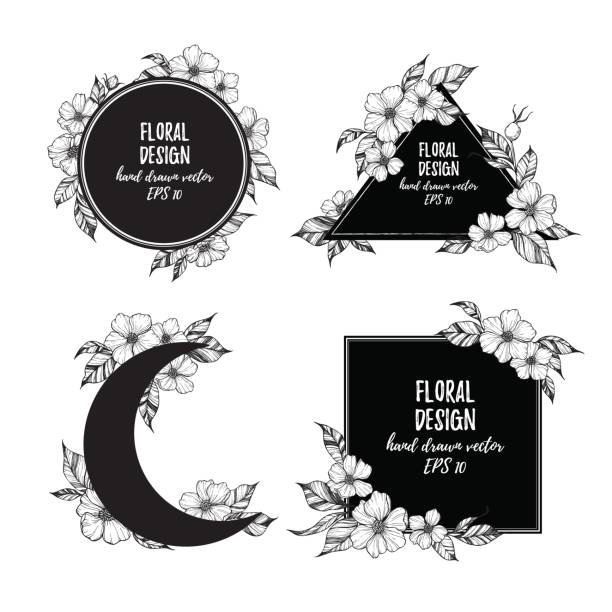 hand drawn vector illustration - frames with flowers and leaves. floral compositions. perfect for wedding invitations, postcards, prints,  posters etc - moon tattoos stock illustrations, clip art, cartoons, & icons