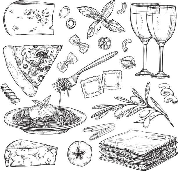 ilustrações, clipart, desenhos animados e ícones de mão de ilustração vetorial desenhada - comida italiana (diferentes tipos de massa, pizza, azeitonas, tomate, manjericão, lasanha, vinho, queijo, etc). elementos de design no estilo de desenho. perfeito para o menu, cartões, blogs, banners. - comida italiana