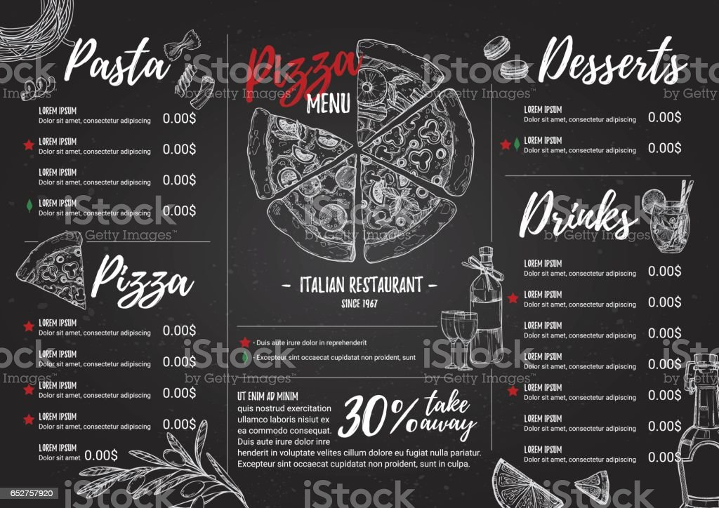Hand drawn vector illustration - Italian menu. Pasta and Pizza. Perfect for restaurant brochure, cafe flyer, delivery menu. Design template with illustrations in sketch style. vector art illustration