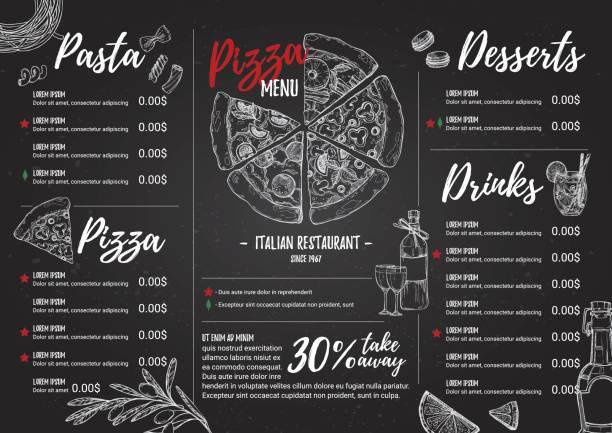 handgezeichnete vektor-illustration - italienisches menü. pasta und pizza. perfekt für restaurant broschüre, café flyer, lieferung menü. design-vorlage mit illustrationen im stil sketch. - pizzeria stock-grafiken, -clipart, -cartoons und -symbole