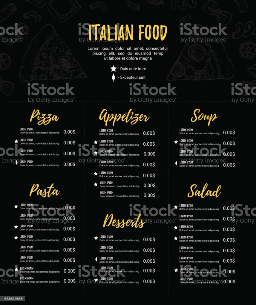 Hand drawn vector illustration - Italian menu. Pasta and Pizza. Perfect for restaurant brochure, cafe flyer, delivery menu. Design template with illustrations in sketch style. royalty-free hand drawn vector illustration italian menu pasta and pizza perfect for restaurant brochure cafe flyer delivery menu design template with illustrations in sketch style stock vector art & more images of alcohol