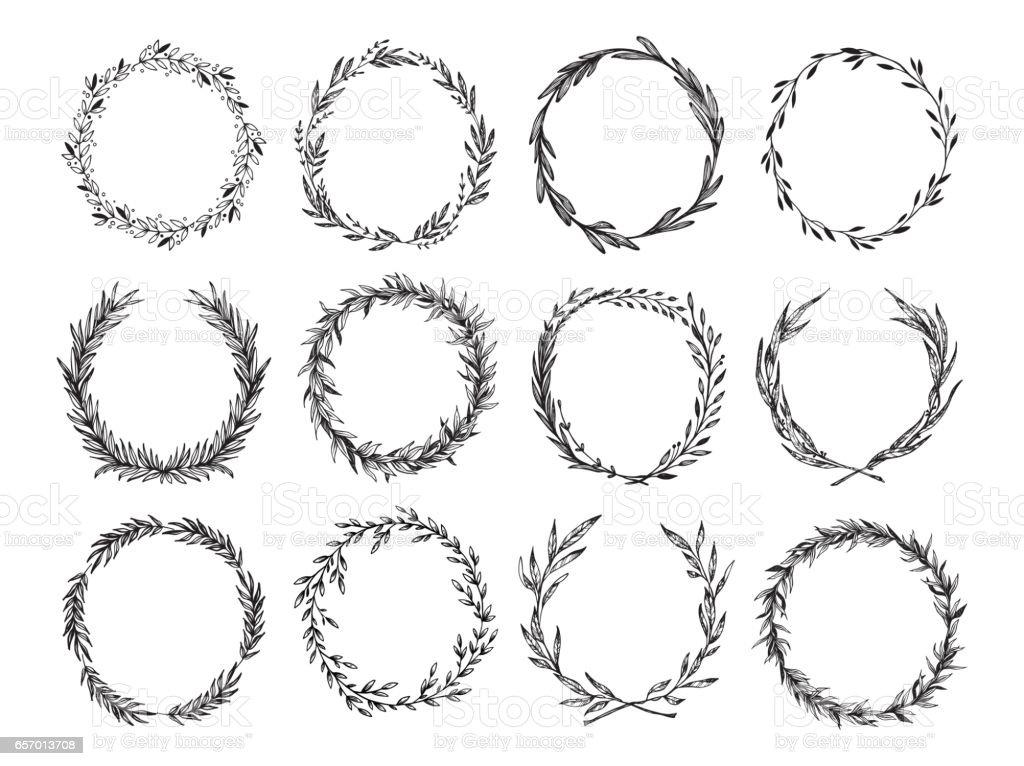 Hand gezeichnet-Vektor-Illustration - Lorbeeren und Kränze. Design-Elemente für Einladungen, Grußkarten, Zitate, Blogs, Plakate und vieles mehr. Perfekt für Hochzeit Frames. – Vektorgrafik