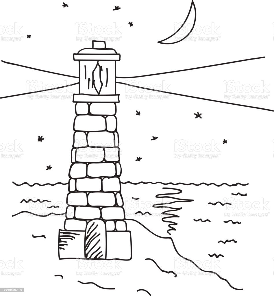 Sayfa Boyama El çizilmiş Vektör çizim Deniz Feneri Yalı Gece