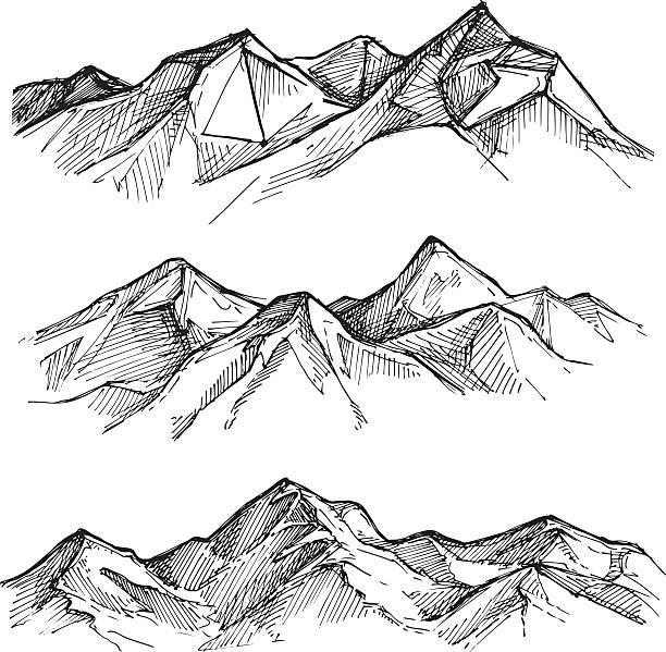 von hand gezeichnete vektor-illustration-berge. skizze stil. - erforschung des weltalls stock-grafiken, -clipart, -cartoons und -symbole