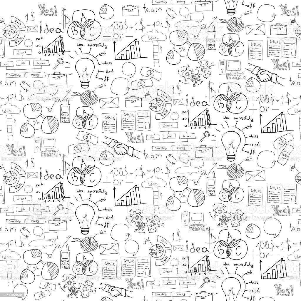 Main dessinée illustration vectorielle de stratégie d'entreprise - Illustration vectorielle
