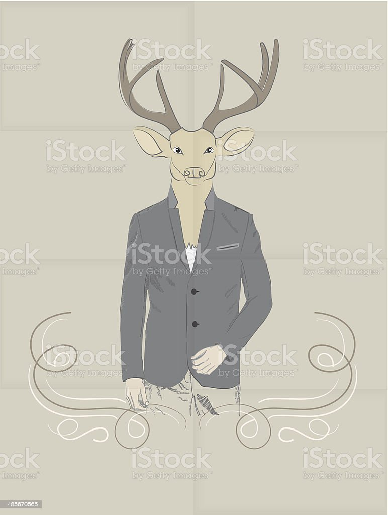 Hand Drawn Vector Illustration of Deer in a suit royalty-free stock vector art
