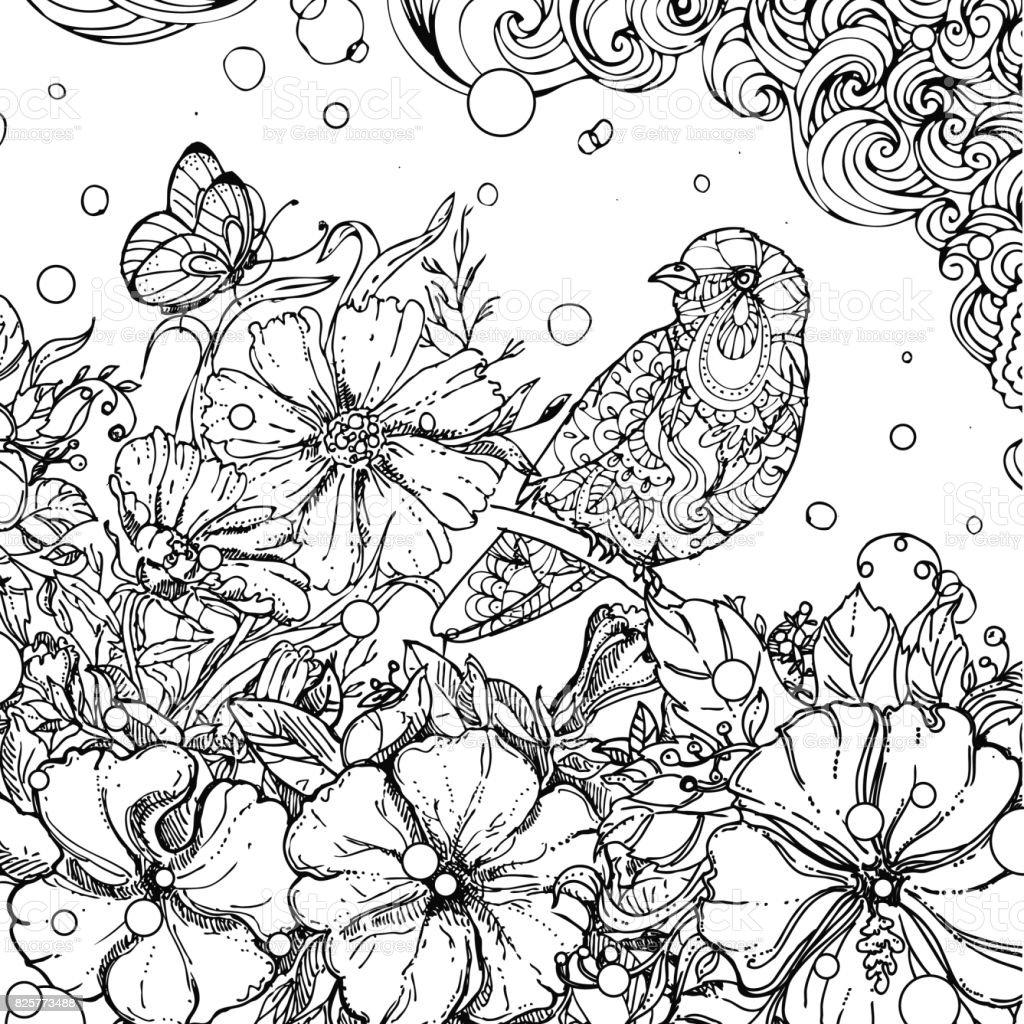 Beyaz Arka Plan üzerinde Izole Yaprakları Dalında Oturan Doodle Kuş