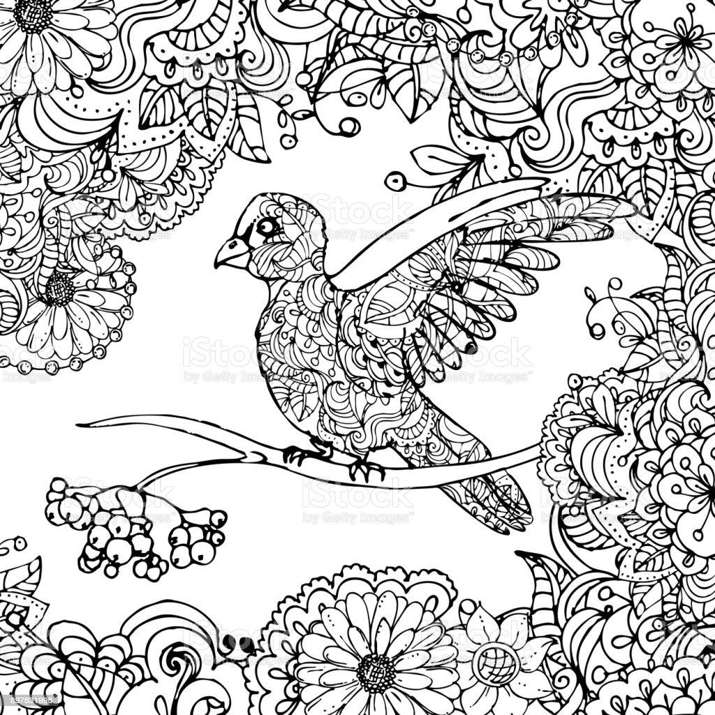 Beyaz Arka Plan Uzerinde Izole Yapraklari Dalinda Oturan Doodle