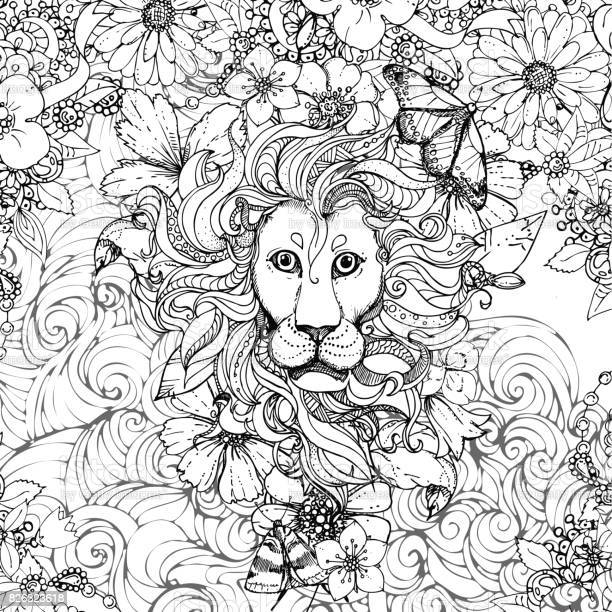 Hand drawn vector illustration of doodle lion and flowers butterfly vector id826323618?b=1&k=6&m=826323618&s=612x612&h=osu4nx7lxmiwyjddiorn7 a38yt0pi27blaxrr1m la=