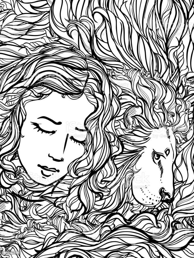 Hand Drawn Vector Illustration Of Doodle Lion And Woman With Curly