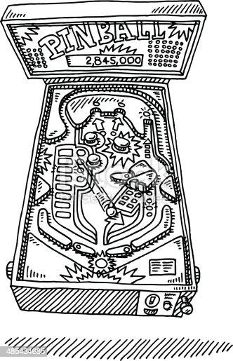 Hand Drawn Vector Illustration Of Pinball Machine Stock