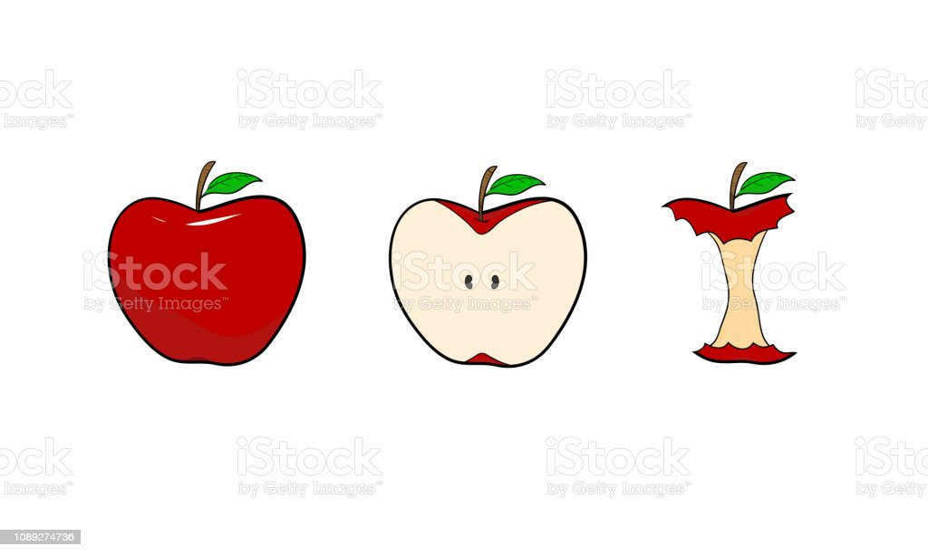 Hand Drawn Vector Illustration Of Red Apples In 3 Different