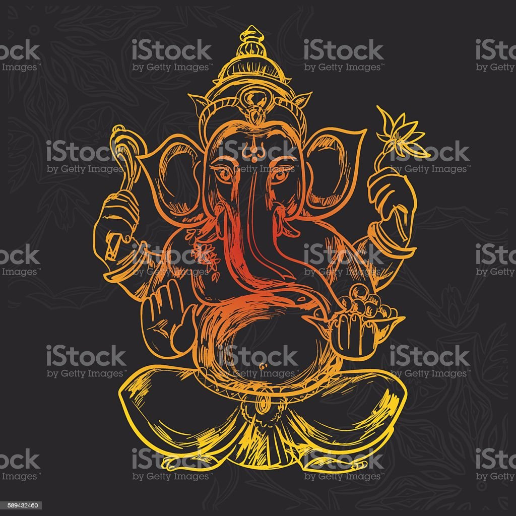 Hand drawn vector illustration of Sitting Lord Ganesha vector art illustration