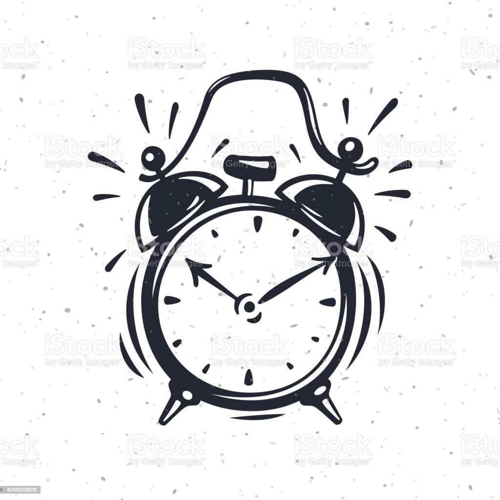 Hand drawn vector illustration of the alarm clock