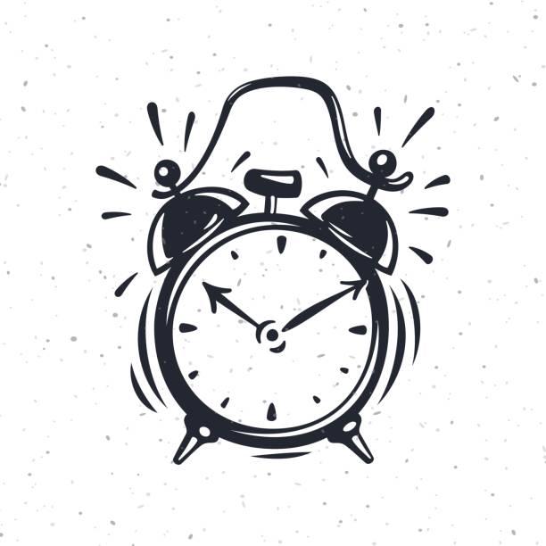 Hand drawn vector illustration of the alarm clock vector art illustration