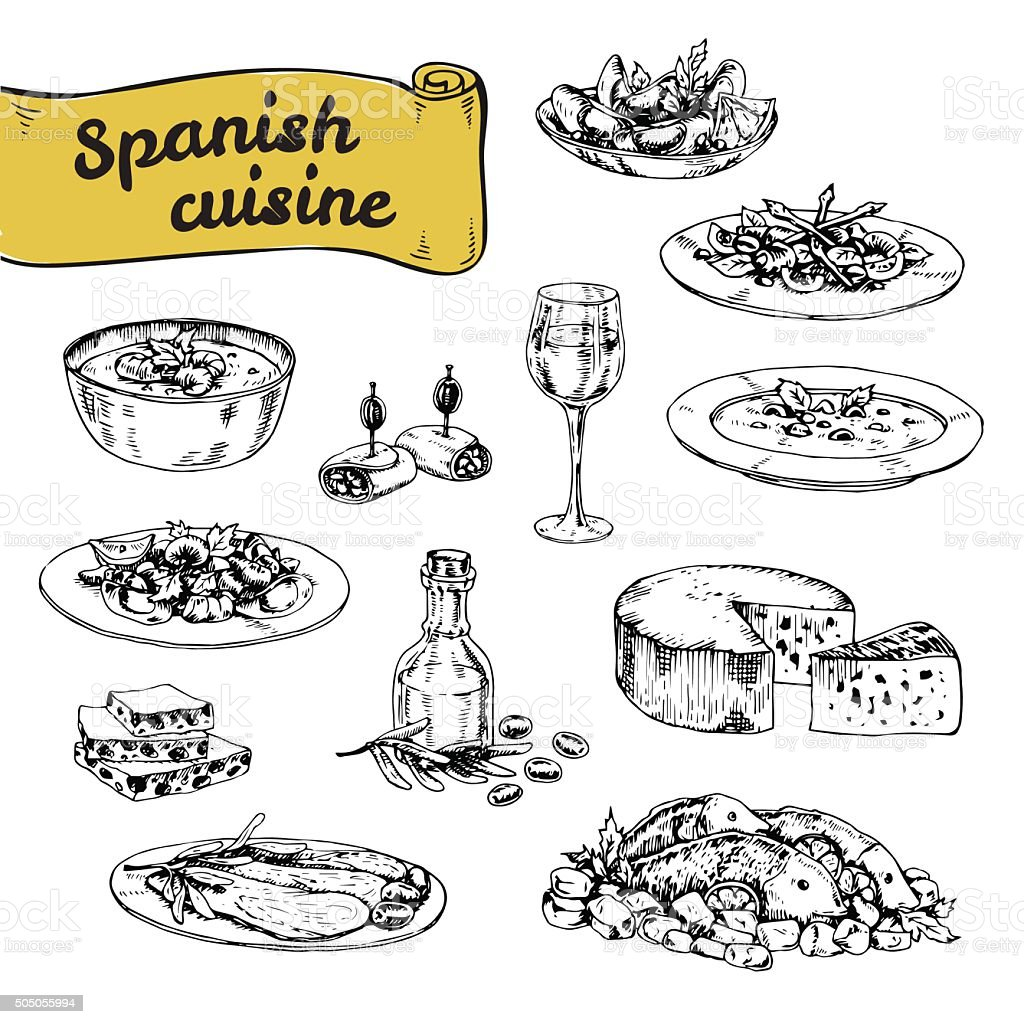Main dessinée illustration vectorielle de la cuisine espagnole traditionnelle - Illustration vectorielle