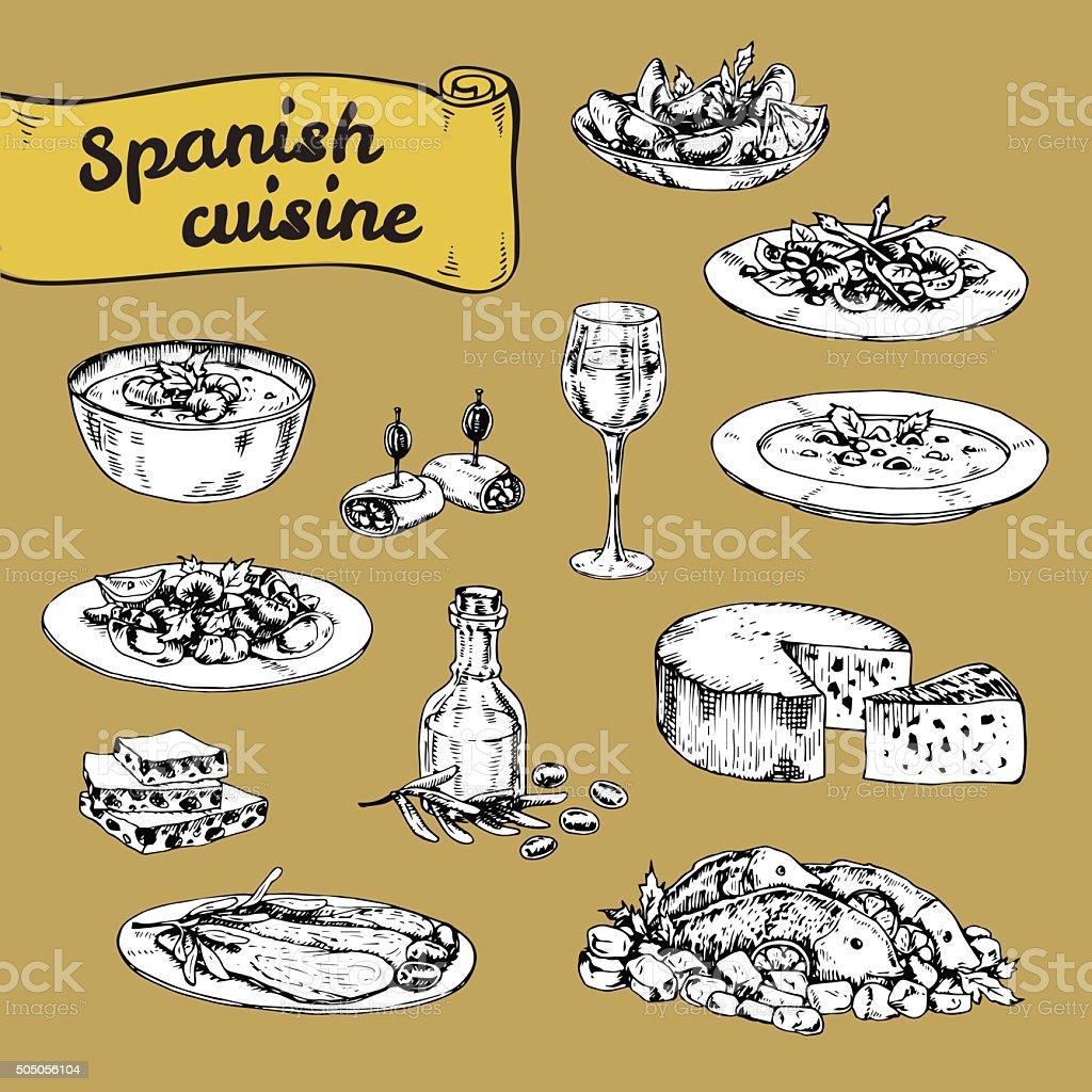 手描きベクトルイラストの伝統的なスペイン料理 ベクターアートイラスト