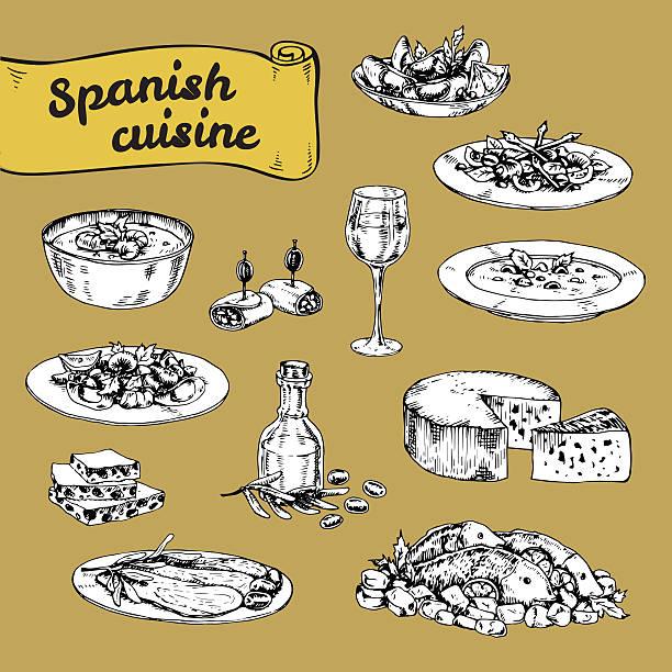 illustrations, cliparts, dessins animés et icônes de main dessinée illustration vectorielle de la cuisine espagnole traditionnelle - cuisine espagnole