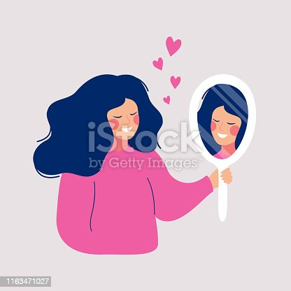 Hand drawn vector illustration of young woman looks on her reflection in mirror with love. Cartoon flat style