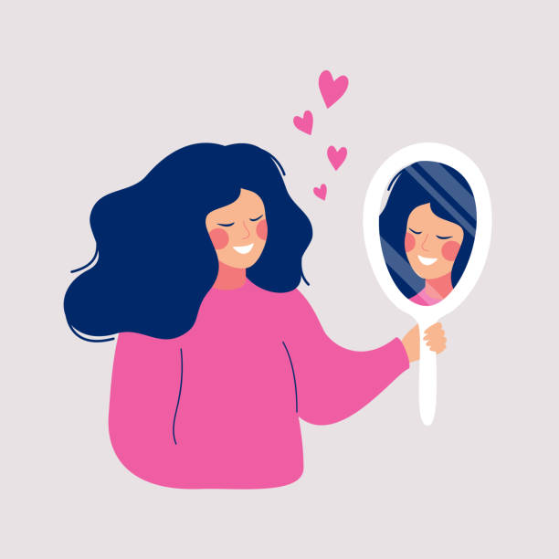 Hand drawn vector illustration of young woman looks on her reflection in mirror with love Hand drawn vector illustration of young woman looks on her reflection in mirror with love. Cartoon flat style love emotion stock illustrations