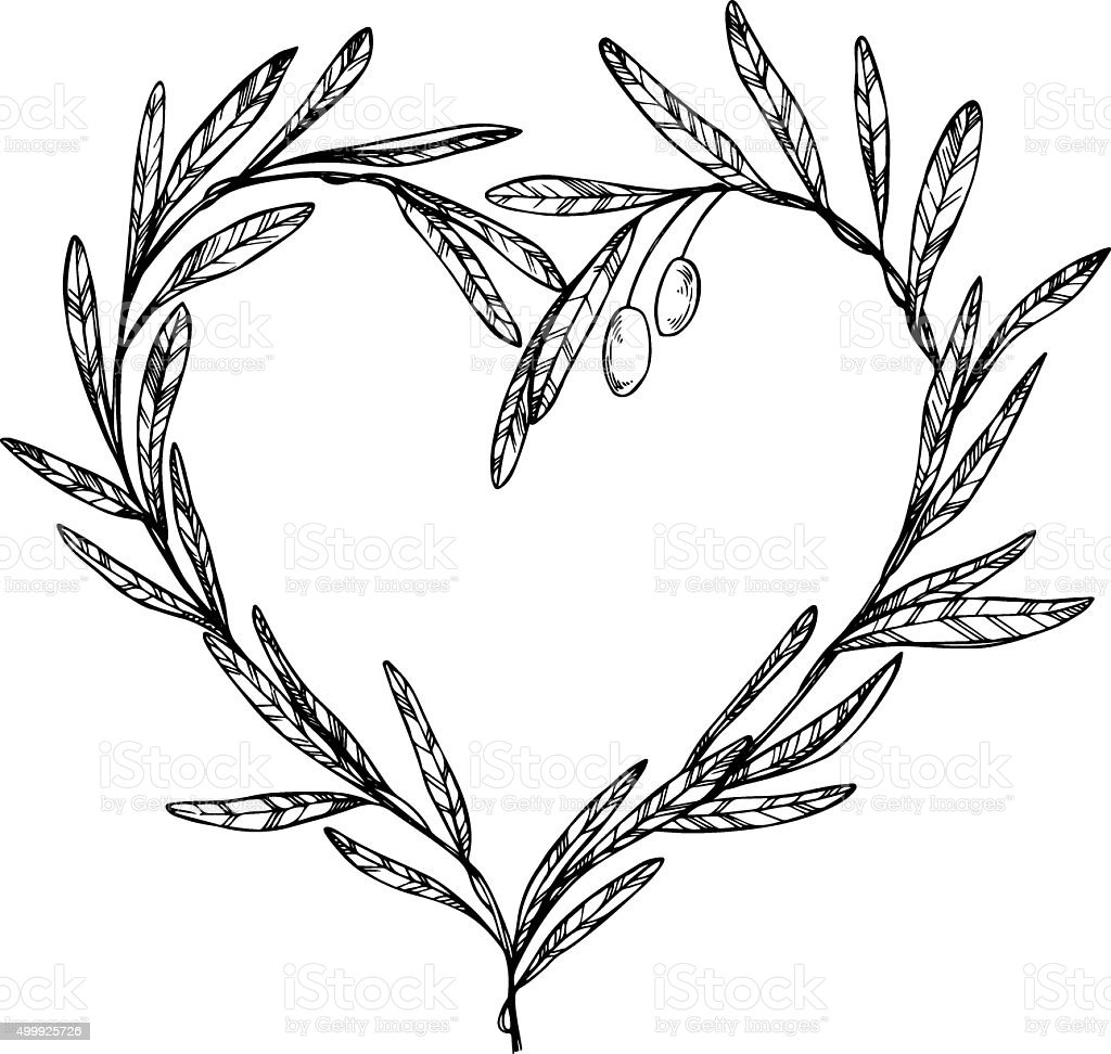 Hand drawn vector illustration - Olive branch, Heart Shaped Wreath vector art illustration
