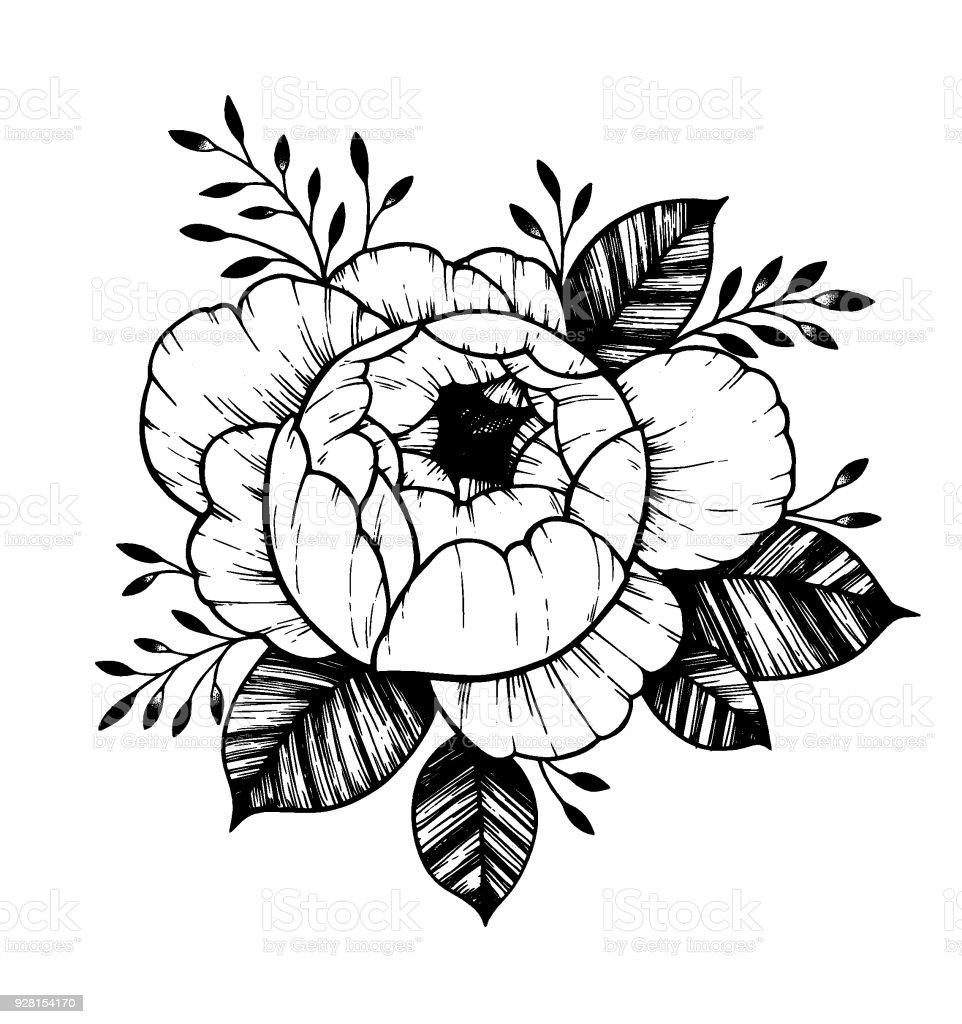 Hand drawn vector illustration peony flower floral tattoo sketch hand drawn vector illustration peony flower floral tattoo sketch perfect for tattooing m4hsunfo