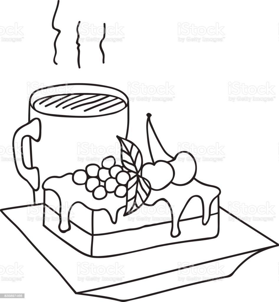 Pieza De Mano Dibujado Vector Ilustración De Delicioso Pastel Con ...