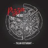 Hand drawn vector illustration - pizza menu on chalk background (Italian restaurant). Types of pizza: Pepperoni, Margherita, Hawaiian, Mushroom. Sketch style