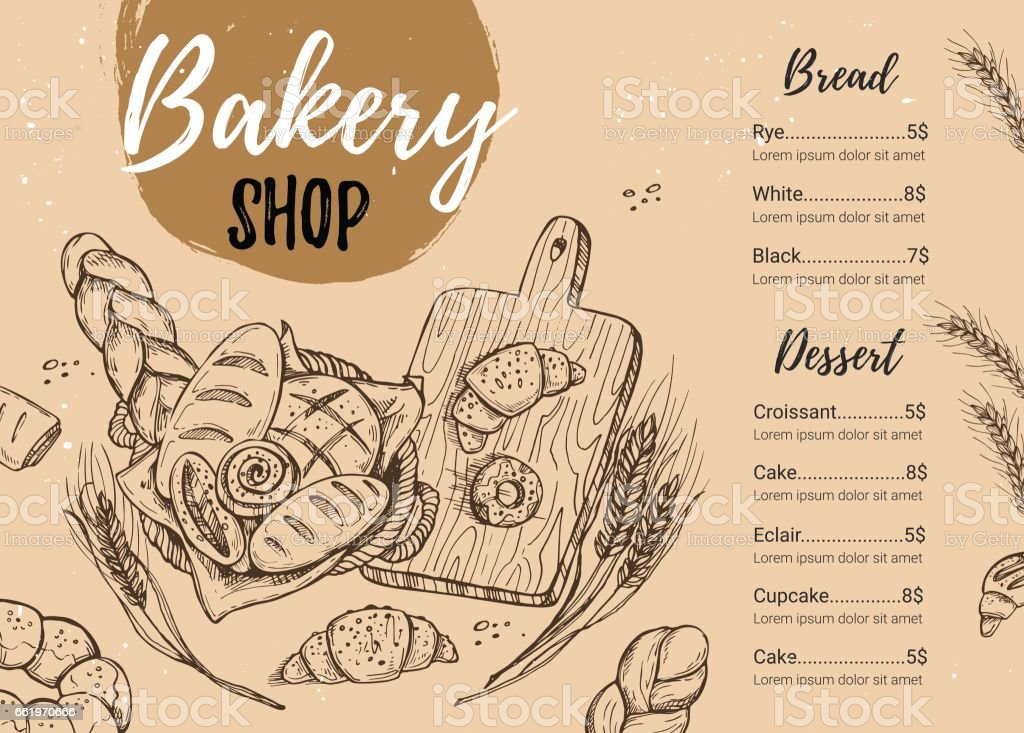 Hand drawn vector illustration - Promotional brochure of bakery. Perfect for restaurant brochure, cafe flyer, delivery menu. Ready-to-use design template with illustrations in sketch style. vector art illustration