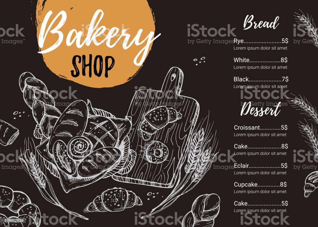 手描きのベクター グラフィック パン屋さんの宣伝用パンフレット