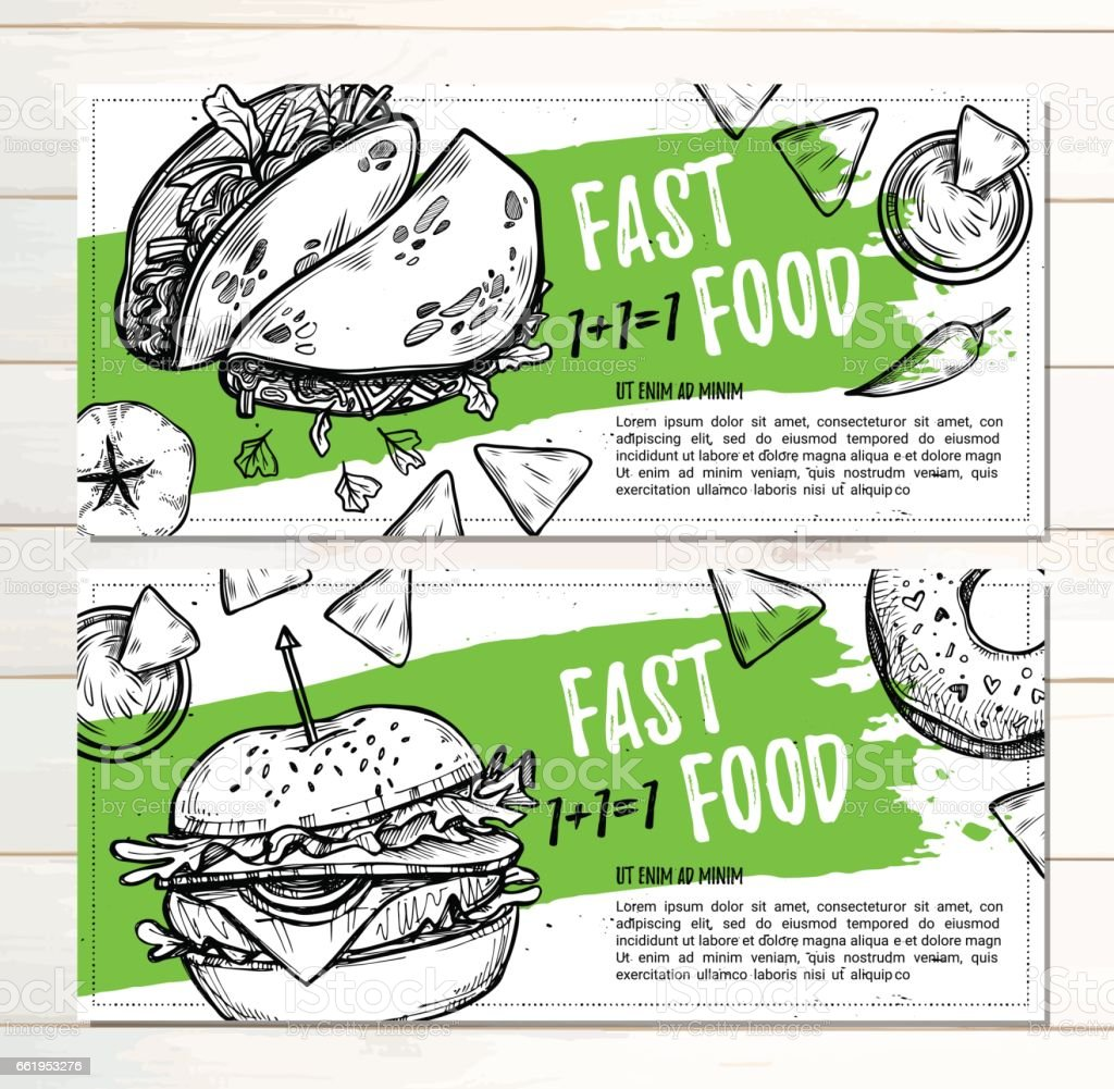 Hand drawn vector illustration - Promotional brochure with fast food. Gamburger, donut, takos and nachos. Perfect for restaurant brochure, cafe flyer, delivery menu. Ready-to-use design template with illustrations in sketch style. royalty-free hand drawn vector illustration promotional brochure with fast food gamburger donut takos and nachos perfect for restaurant brochure cafe flyer delivery menu readytouse design template with illustrations in sketch style stock vector art & more images of bacon cheeseburger