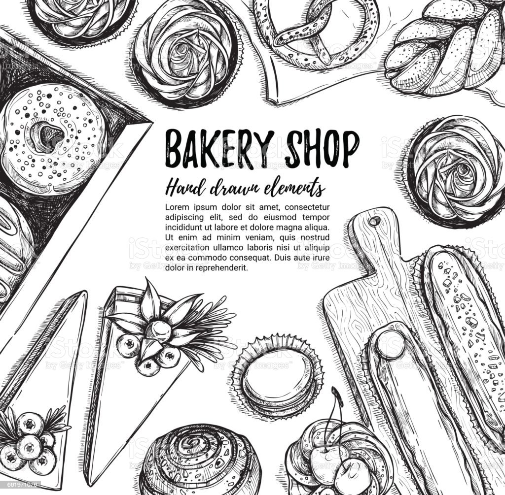 Hand drawn vector illustration. Promotional brochure with pastries. Bakery shop. Perfect for restaurant brochure, cafe flyer, delivery menu. Ready-to-use design template with sketch illustrations vector art illustration