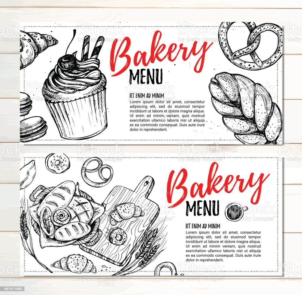 Hand drawn vector illustration - Promotional brochures of bakery. Perfect for restaurant brochure, cafe flyer, delivery menu. Ready-to-use design template with illustrations in sketch style. vector art illustration