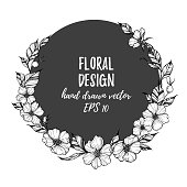 Hand drawn vector illustration - round card with flowers and leaves. Perfect for invitations, quotes, tattoo, textiles, blogs, posters etc.