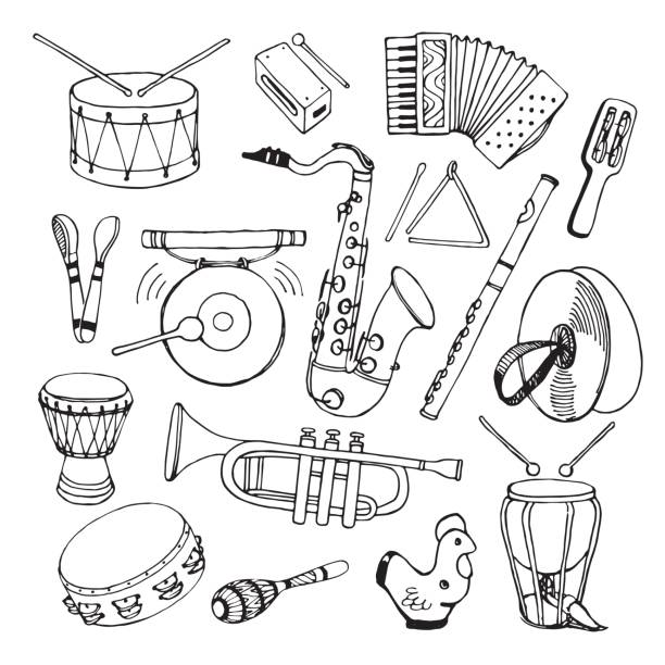 ilustrações de stock, clip art, desenhos animados e ícones de hand drawn vector illustration. saxophone, maracas, accordion, flute, percussion, drum and other. - saxofone