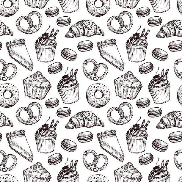 Hand drawn vector illustration - Seamless pattern with sweet Hand drawn vector illustration - Seamless pattern with sweet and dessert. Yummy background (croissant, cupcakes, pretzels, cake, cheesecake, macaroon). cake drawings stock illustrations