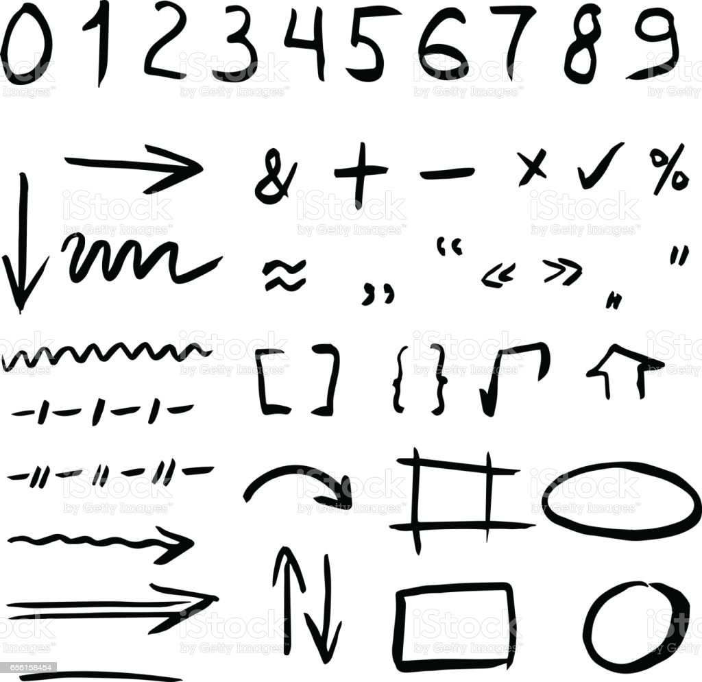 Hand drawn vector illustration set isolated on white background hand drawn vector illustration set isolated on white background arrows math symbols numbers buycottarizona Image collections