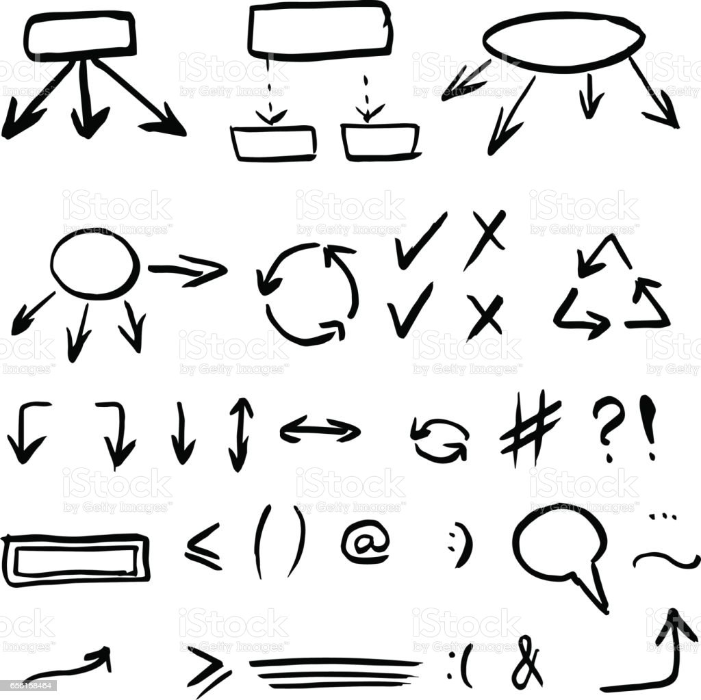 Hand Drawn Vector Illustration Set Isolated On White Background
