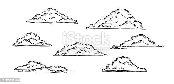 Hand drawn vector illustration - Set of clouds. Vintage engraved clouds