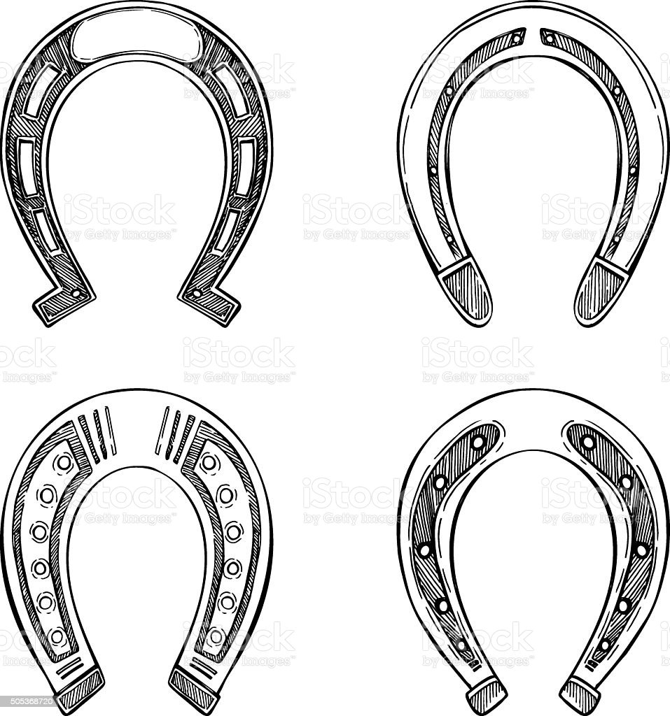 Hand drawn vector illustration - Set of horseshoes. Vintage vector art illustration