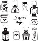 Hand drawn vector illustration - Set of Lanterns and Jars. Design elements.