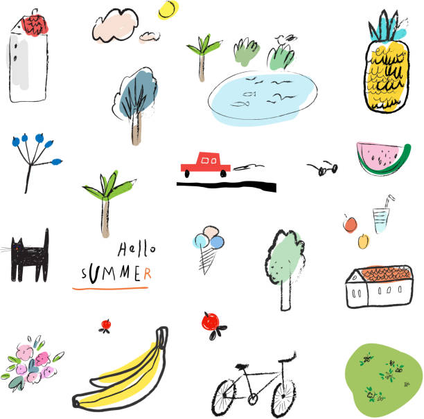 Hand drawn vector illustration set of travel  and summer elements Hand drawn vector illustration set of travel, tourism and summer doodles elements. Isolated on white background. banana drawings stock illustrations