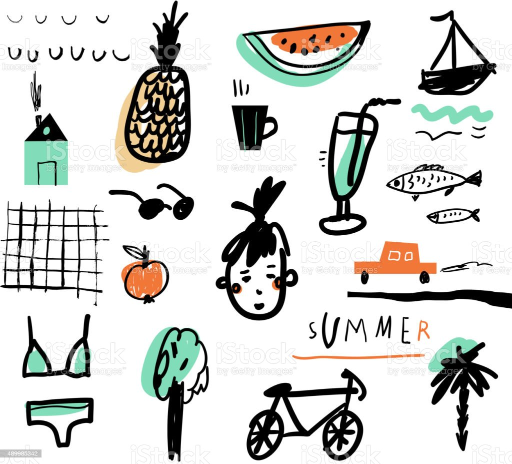 Hand drawn vector illustration set of travel tourism and summer vector art illustration