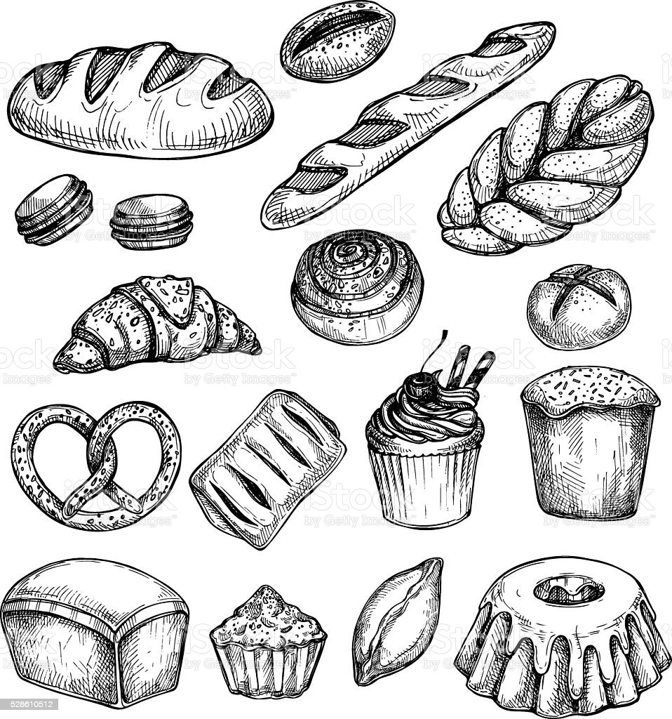 Hand drawn vector illustration - Set with sweet and dessert vector art illustration