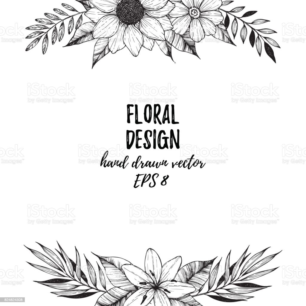 hand drawn vector illustration square frame with flowers and leaves