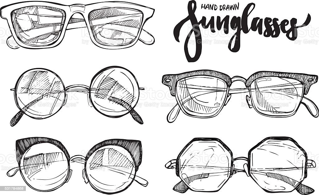Hand drawn vector illustration - sunglasses. Fashion sunglasses. vector art illustration