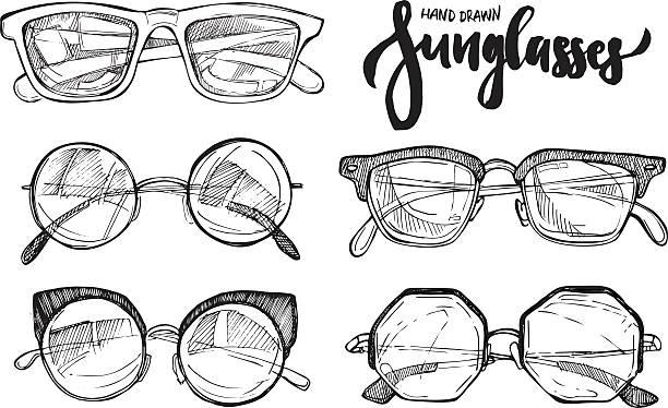 ilustrações, clipart, desenhos animados e ícones de ilustração vetorial desenhada a mão-óculos de sol. moda óculos de sol. - óculos escuros acessório ocular