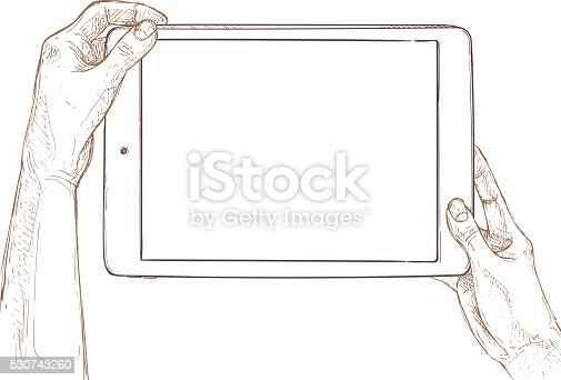 istock Hand drawn vector illustration - tablet screen with hands. 530743260