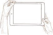 Hand drawn vector illustration - tablet screen with hands.