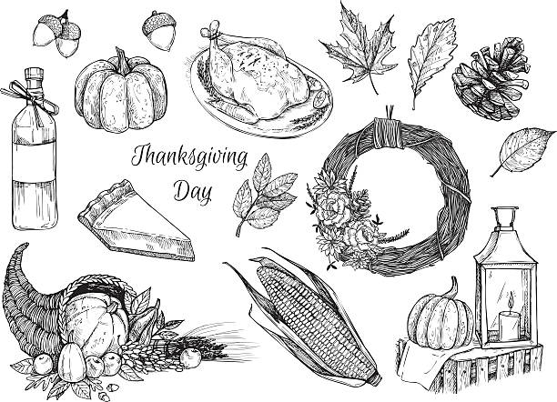 Hand drawn vector illustration - Thanksgiving day. Design elemennts Hand drawn vector illustration - Thanksgiving day. Design elements for invitations, greeting cards, quotes, blogs, posters and more. maple leaf illustrations stock illustrations